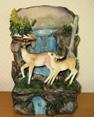 Подарок 2145 / Декоративный подарочный фонтан из полистоуна Семейство оленей